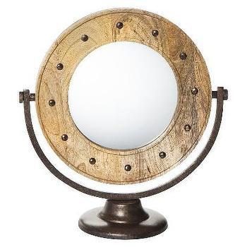 Mirrors - Nate Berkus Studded Mirror on Stand I Target - studded mirror on stand, wooden make up mirror, industrial make up mirror, industrial shaving mirror,