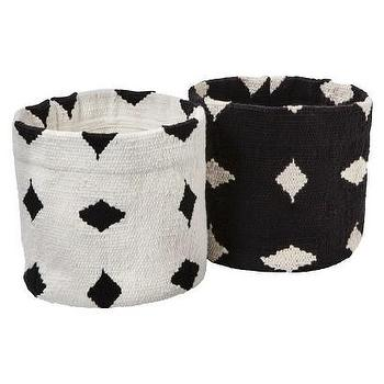Decor/Accessories - Nate Berkus Cotton Basket Set - Black and White I Target - black and white storage basket, black and white cotton basket, black and white diamond basket,