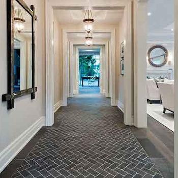 Brick Herringbone Tiles, Transitional, entrance/foyer, Benjamin Moore Fog Mist, House & Home