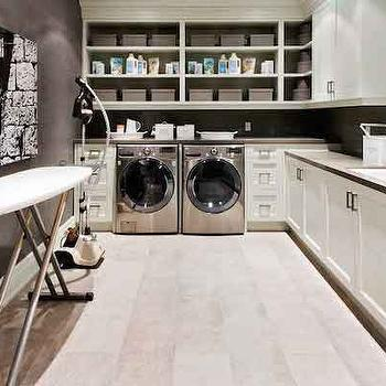 White and Gray Laundry Rooms, Transitional, laundry room, House & Home