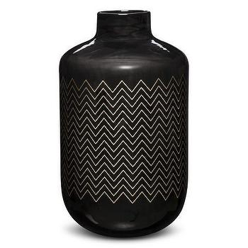 Decor/Accessories - Nate Berkus Painted Stripe Vase I Target - chevron striped black vase, black chevron vase, black zig zag vase,