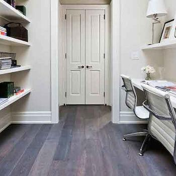 Home Office Ideas, Transitional, den/library/office, Benjamin Moore Fog Mist, House & Home