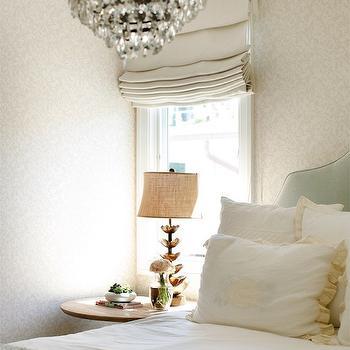 Beige Damask Wallpaper, Transitional Bedroom, Owens and Davis