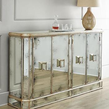 Storage Furniture - John-Richard Collection Delancey Console I Horchow - mirrored console, foxed mirrored console, antiqued mirrored buffet, foxed mirrored buffet,