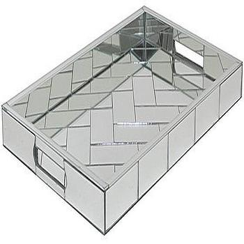 Decor/Accessories - Daymon Mirrored Tray | HomeDecorators.com - mirrored tray, mirrored chevron tray, mirrored bar tray,