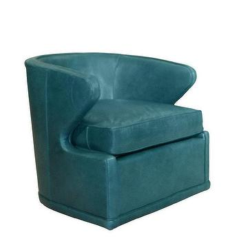 Dyna St. Clair Swivel Chair I Horchow - peacock blue swivel chair, peacock blue chair, retro peacock blue chair,