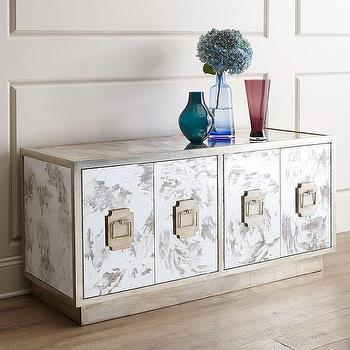 Storage Furniture - Finlay Entertainment Console I Horchow - mirrored media console, antiqued mirrored console, mirrored entertainment console,