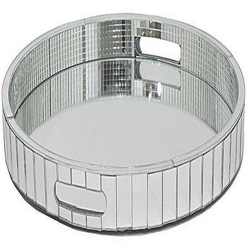 Decor/Accessories - Mika Mirrored Tray | HomeDecorators.com - round mirrored tray, decorative mirrored tray, mirror mosaic tray, mirrored bar tray,