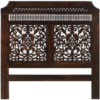 Beds/Headboards - Maharaja Queen Headboard | HomeDecorators.com - carved wooden headboard, carved wood headboard, indian style headboard, handcarved headboard,