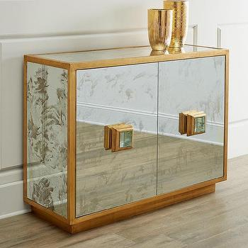 Storage Furniture - Catalina Console I Horchow - mirrored glass console, antiqued mirrored console, gold mirrored console, gold leafed mirrored console,