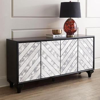 Storage Furniture - Libby Mirrored Console I Horchow - chevron mirrored console, chevron mirror front console, chevron mirrored buffet,