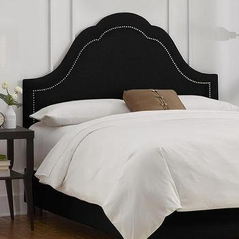 Beds/Headboards - Custom Jameson Upholstered Bed | HomeDecorators.com - black headboard, black headboard with nailhead trim, black arched headboard,