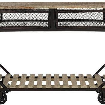 Storage Furniture - Decker Rolling Console | HomeDecorators.com - industrial rolling console, industrial rolling cart, industrial bar cart, industrial storage cart,