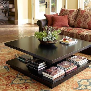 Tables - Book It Coffee Table I Horchow - espresso coffee table, modern espresso coffee table, coffee table with book storage, coffee table with bookshelf,