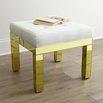 Tables - Belinda Golden Mirrored Bench I Horchow - gold mirrored bench, gold mirrored stool, gold mirror upholstered stool,