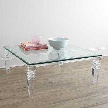 Tables - Christelle Coffee Table I Horchow - acrylic and glass coffee table, modern acrylic coffee table, acrylic coffee table with glass top,