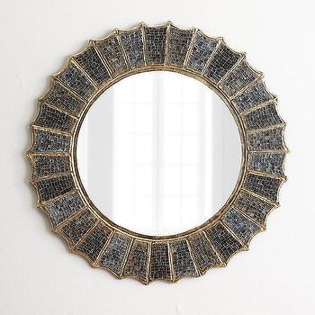 Mirrors - Irena Mosaic Mirror I Horchow - mosaic mirror, round mosaic mirror, mirrored glass mirror, glass mosaic mirror,
