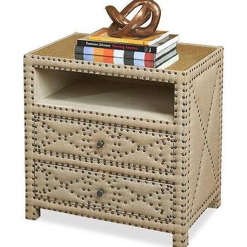 Storage Furniture - Camila Bedside Table I Horchow - linen upholstered nightstand, linen nightstand with nailhead, upholstered linen bedside table, linen two drawer nightstand,