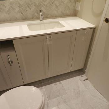 Refined Design - bathrooms - Small bathroom, white cabinets, marble floor, mosaic marble, quartz countertop, white countertop, under mount sink, crystal knobs, mirrored medicine cabinet,
