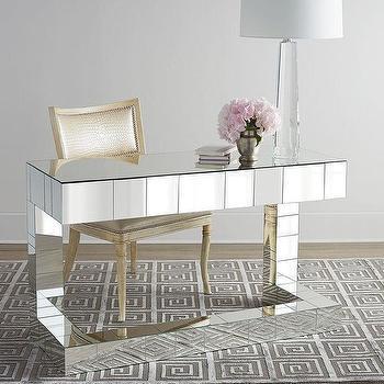 Storage Furniture - Regina-Andrew Design Quinlan Mirrored Writing Desk I Horchow - mirrored desk, modern mirrored desk, mirrored writing desk,