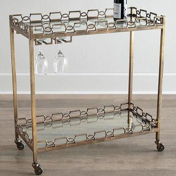 Storage Furniture - Hamilton Bar Cart I Horchow - brass bar cart, brass and glass bar cart, antiqued brass bar cart,