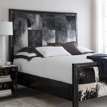 Beds/Headboards - Old Hickory Tannery Omaha Hairhide Bed I Horchow - cowhide bed, black and white cowhide bed, cowhide upholstered bed, hairhide bed, black and white hairhide bed,