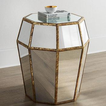 Tables - Delise Octagonal Side Table I Horchow - mirrored side table, mirrored octagonal side table, mirrored accent table,
