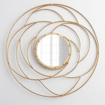Mirrors - Nebula Iron Mirror I Horchow - gold iron wall mirror, round gold wall mirror, modern round gold mirror,