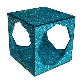 Tables - Jonathan Adler Toulouse Cube Side Table I Horchow - turquoise cube side table, open cube side table, turquoise upholstered side table, retro turquoise side table,