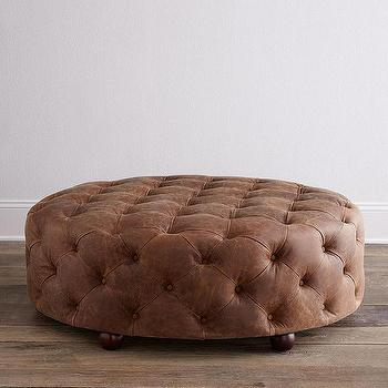 Seating - Maddie Leather Ottoman I Horchow - round leather ottoman, brown leather tufted ottoman, round leather tufted ottoman, round brown leather ottoman,