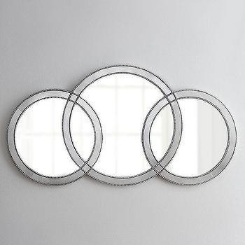 Mirrors - Olympia Mirror I Horchow - interlocking circles mirror, geometric circles mirror, triple ring mirror, triple circle mirror, beaded round mirror,