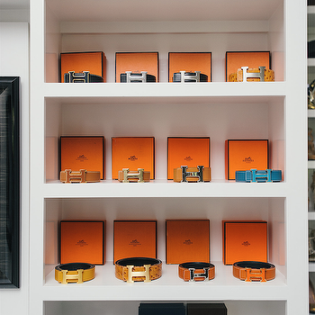 Neiman Marcus Blog - closets: built in shelves, built in closet shelves, closet shelving, belt display, walk in closet shelving, hermes belts, hermes belt collection, hermes belt display, hermes belts, hermes,