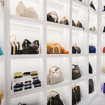 Purse Display Shelves, Contemporary, closet, Neiman Marcus Blog