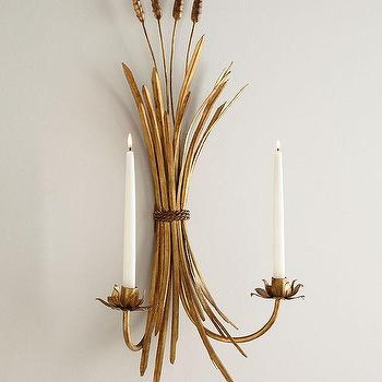 Art/Wall Decor - Two Wheat Candle Sconces I Horchow - wheat sheaf candle sconce, brass wheat candle sconce, wheat sheaf wall sconce,