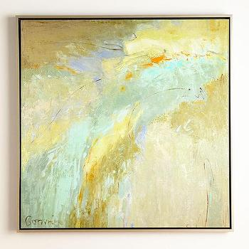 Art/Wall Decor - John-Richard Collection Blue Shade Giclee I Horchow - blue and gold abstract art, blue and gold giclee art, aqua blue and gold wall art,