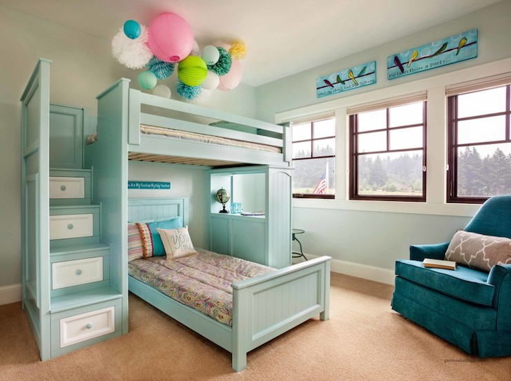 Bunk Bed Staircase Transitional Girl S Room Garrison