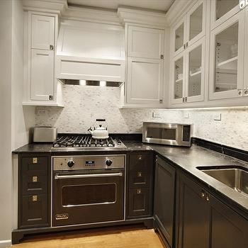 Black And White Marble Floor Transitional Kitchen
