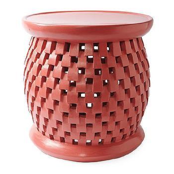 Tables - Bamileke Stool - Coral | Serena & Lily - coral pink stool, bamileke stool, pink bamileke stool, coral bamileke stool,