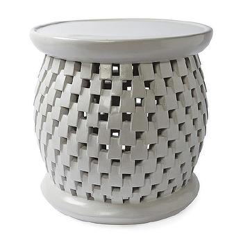 Tables - Bamileke Stool - Fog | Serena & Lily - gray bamileke stool, bamileke stool, bamileke side table,