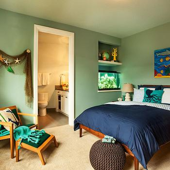 Nautical Kids Room, Cottage, boy's room, Sherwin Williams Interesting Aqua, Garrison Hullinger Interior Design