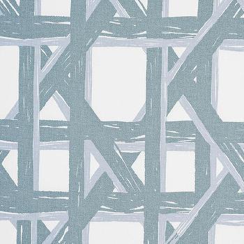 Fabrics - Havana Fabric Swatch - Celadon | Serena & Lily - blue cane weave fabric, blue cane print fabric, blue lattice fabric,