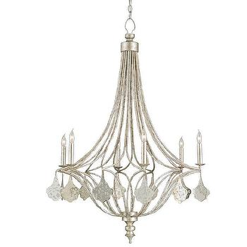 Lighting - Currey & Company Lavinia Chandelier I Layla Grayce - silver mirrored chandelier, silver leafed chandelier, silver leafed mirrored chandelier,