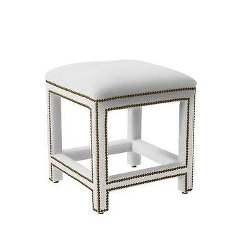 Seating - Dorset Stool | Serena & Lily - white upholstered stool, white nailhead trimmed stool, upholstered stool with nailhead trim,