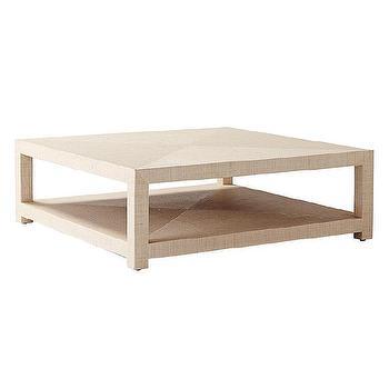Tables - Blake Raffia Square Coffee Table - Natural | Serena & Lily - raffia coffee table, raffia parsons coffee table, woven raffia coffee table,