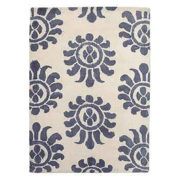Rugs - Azul Wool Rug | Serena & Lily - blue and ivory rug, blue tribal print rug, denim blue and ivory rug,