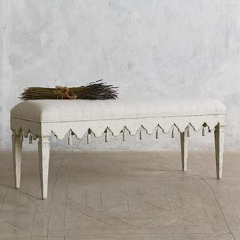 Seating - Eloquence Verona Tassel Bench I Layla Grayce - distressed gray bench, tasseled gray bed, european upholstered bench,
