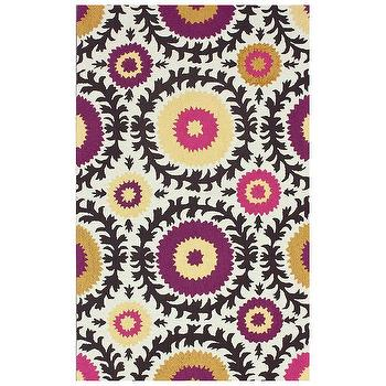 Rugs - Suzy Multi Hand Tufted Rug I Zinc Door - pink and purple suzani rug, purple and yellow suzani rug, suzani rug, suzani print rug,