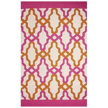 Rugs - Franca Pink Hand Hooked Indoor/Outdoor Rug I Zinc Door - pink and orange rug, pink and orange geometric rug, pink and orange graphic rug,