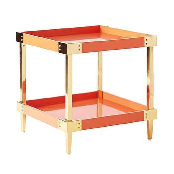 Tables - Savile Side Table - Persimmon | Serena & Lily - orange lacquered side table, orange and brass side table, modern orange side table, retro orange side table,