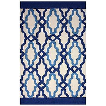 Rugs - Franca Blue Hand Hooked Indoor/Outdoor Rug I Zinc Door - blue geometric rug, navy geometric rug, navy and blue graphic rug,